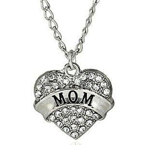 Jewelry - Dainty clear Crystal MOM Heart Pendant Necklace